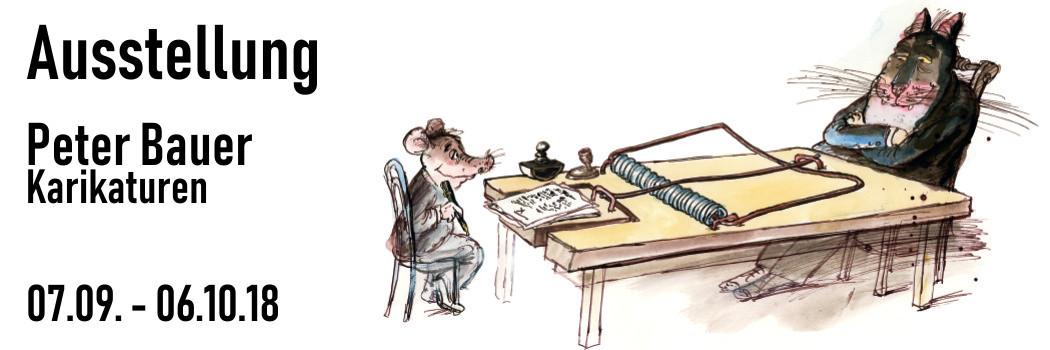 Einladung zur Ausstellung mit Karikaturen von Peter Bauer